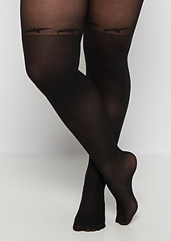 Plus Black Bat Illusion Tights