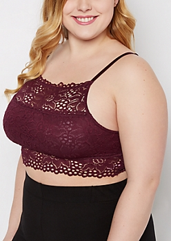 Plus Plum Lace High Neck Bralette