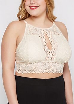 Plus Ivory High Neck Keyhole Bralette