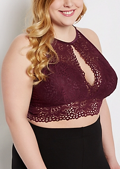 Plus Plum High Neck Keyhole Bralette
