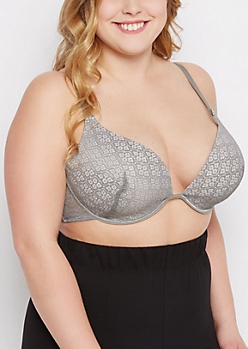 Plus Gray Medallion Deep Plunge Push-Up Bra