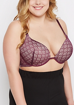 Plus Plum Medallion Deep Plunge Push-Up Bra