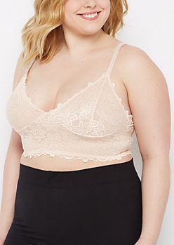 Plus Light Pink Lace Longline Bralette