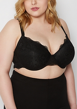 Plus Black Lace Balconette Bra