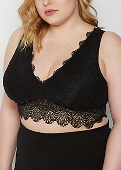 Plus Black Longline Lace Bralette