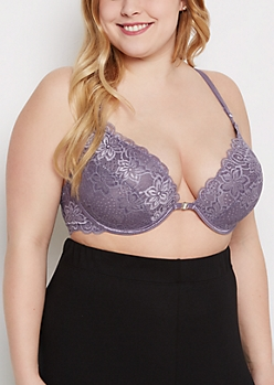 Plus Lavender Lace Cross-Back Deep Plunge Bra