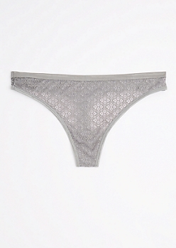 Plus Gray Medallion Crochet Thong