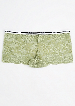 Plus Olive Floral Lace Banded Boyleg Undie