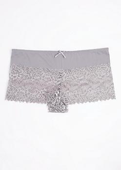 Plus Gray Metallic Lace Boyleg Undie