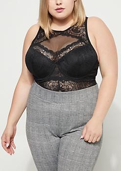 Plus Black Sheer Lace Thong Bodysuit