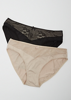 Plus 2-Pack Black & Nude Lace High Waist Bikini Undies