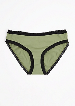 Plus Olive Ruched Bikini Undie
