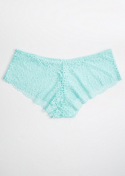Plus Light Teal Daisy Crochet Boyleg Undie