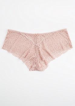 Plus Mauve Daisy Crochet Boyleg Undie
