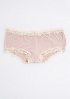 Plus Pink Lace Trimmed Bikini Undie