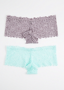Plus 2-Pack Purple Daisy Lace Boyleg Undie