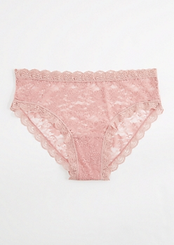 Plus Dusty Pink Lace Bikini Undie