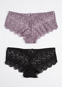 Plus 2-Pack Lavender & Black Lace Bikini Undie