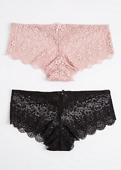 Plus 2-Pack Pink & Black Lace Bikini Undie