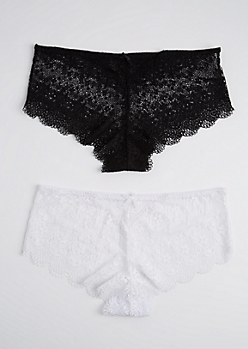 Plus 2-Pack White & Black Lace Bikini Undie