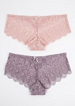 Plus 2-Pack Lavender & Pink Lace Bikini Undie