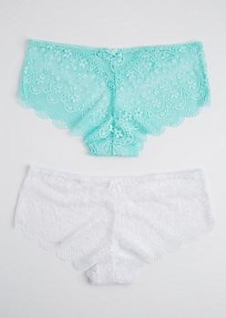 Plus 2-Pack White & Teal Lace Bikini Undie