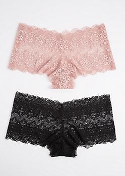 Plus 2-Pack Pink & Black Lace Boyleg Undie