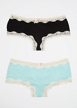 Plus 2-Pack Teal & Black Laced Bikini Undie