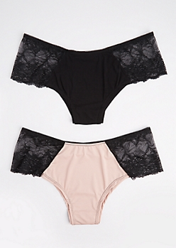 Plus 2-Pack Pink Lace Side Bikini Undies