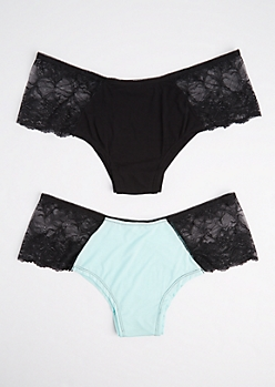Plus 2-Pack Mint Lace Side Bikini Undies