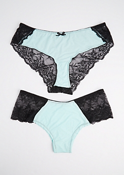 Plus 2-Pack Mint Modal & Lace Bikini Undies