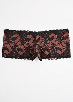 Plus Orange Floral Lace Boyleg Undie