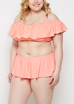 Plus Coral Flounce Off-Shoulder Bikini Top