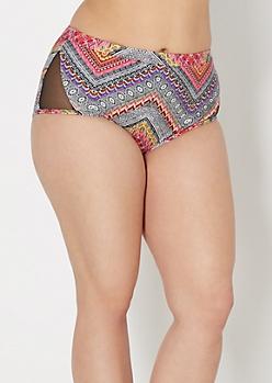 Plus Tribal Mix High Waist Bikini Bottom