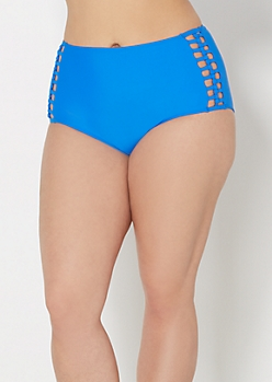 Plus Royal Blue Caged High Waist Bikini Bottom