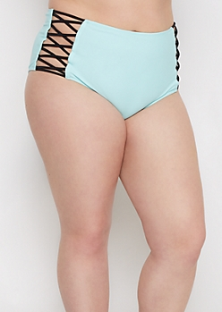 Plus Light Blue Caged High Waist Bikini Bottom