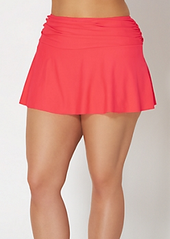 Plus Fuchsia Ruched Swim Skirt