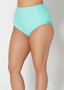 Plus Light Teal High Waisted Bikini Bottom