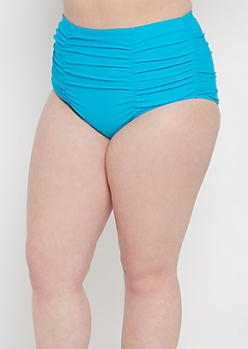 Plus Turquoise Ruched High Waist Bikini Bottom
