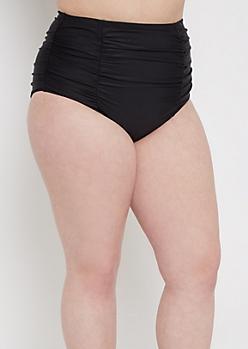 Plus Black Ruched High Waist Bikini Bottom