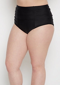 Plus Black Ruched High Waist Bikini Bottom