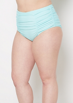 Plus Light Blue Ruched High Waist Bikini Bottom
