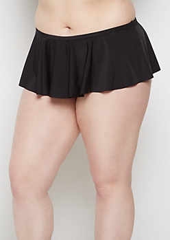 Plus Black Skirted Bikini Bottom
