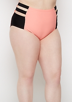 Plus Coral Caged High Waist Bikini Bottom