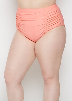 Plus Coral Ruched High Waist Bikini Bottom
