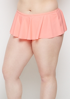 Plus Coral Skirted Bikini Bottom