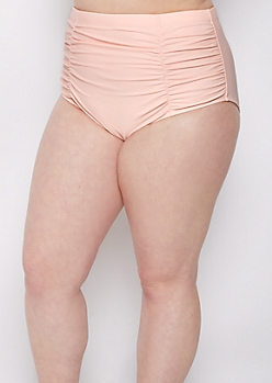 Plus Pink Ruched High Waist Bikini Bottom