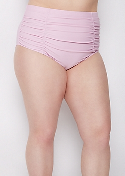 Plus Lavender Ruched High Waist Bikini Bottom