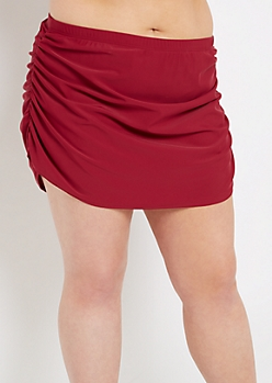 Plus Burgundy Ruched Skirted Swim Bottom