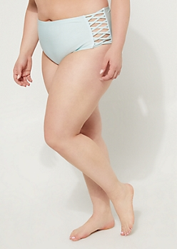 Plus Light Blue Macramé High Waist Bikini Bottoms
